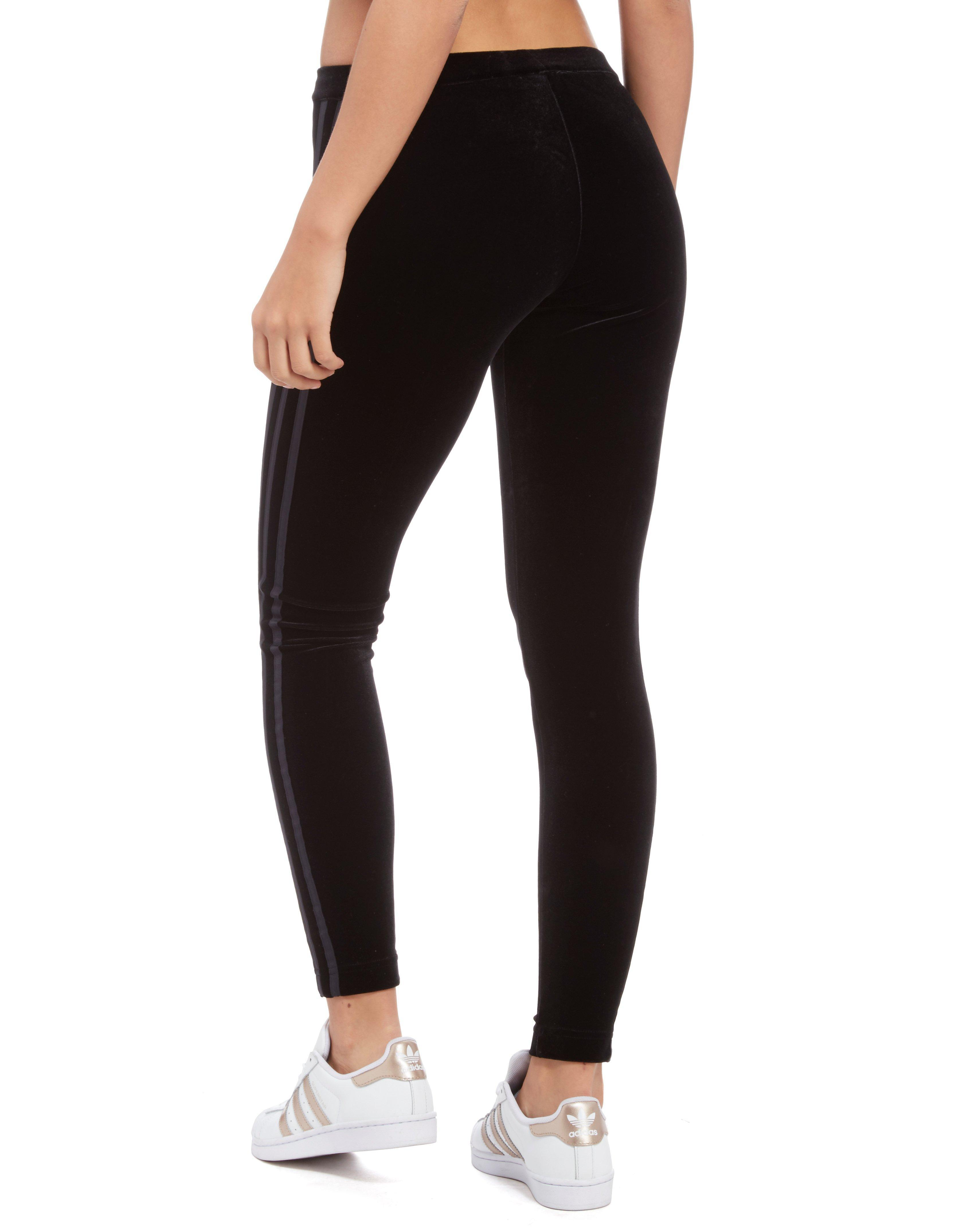 new product 335f4 234fb Lyst - adidas Originals 3-stripes Trefoil Velvet Leggings in Black