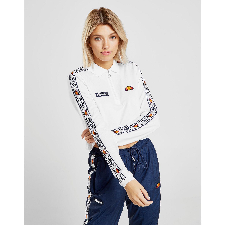 dfa55e9e7fa Ellesse Tape Long Sleeve Crop Polo Shirt in White - Lyst
