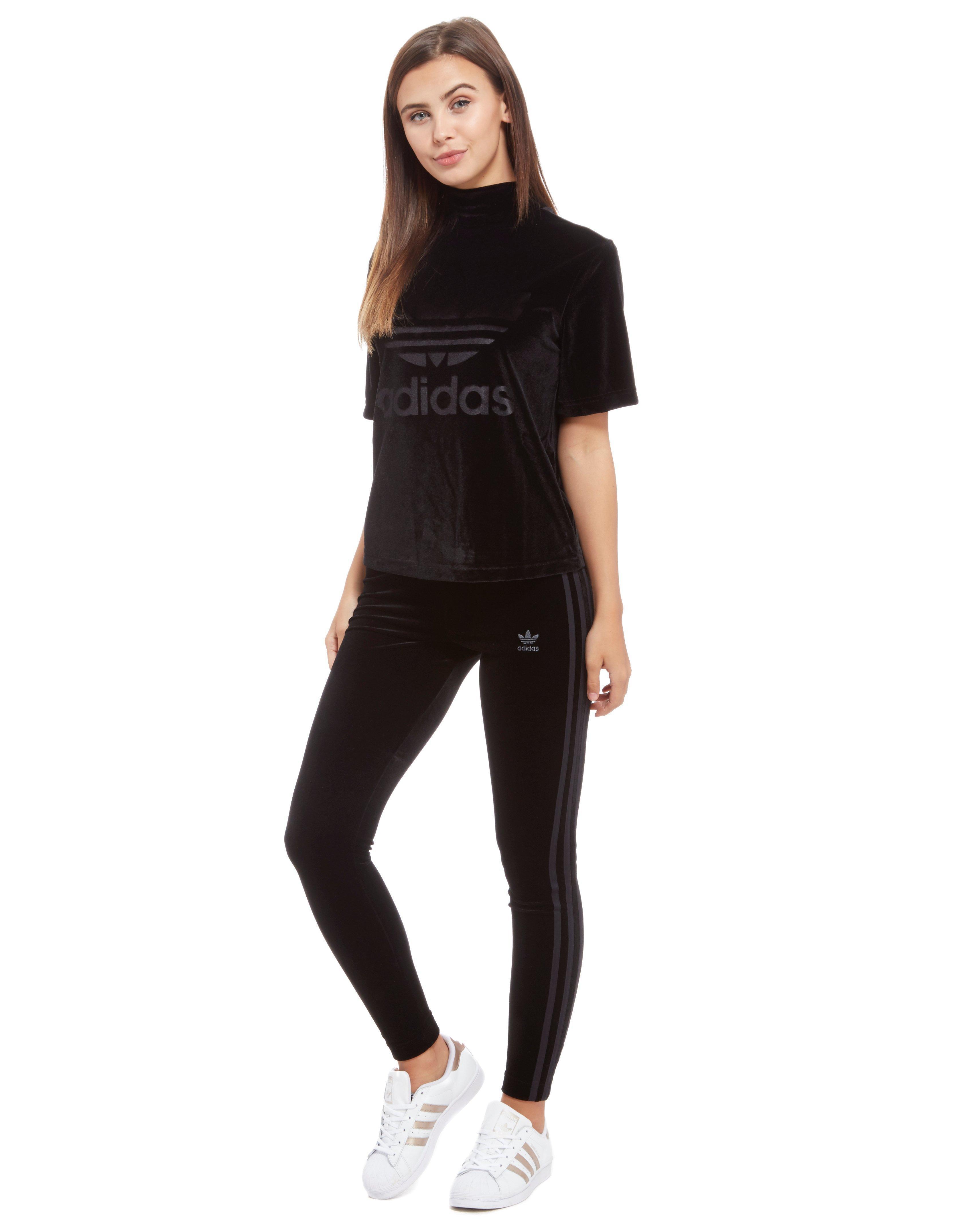 adidas originals 3-stripes velvet leggings dames