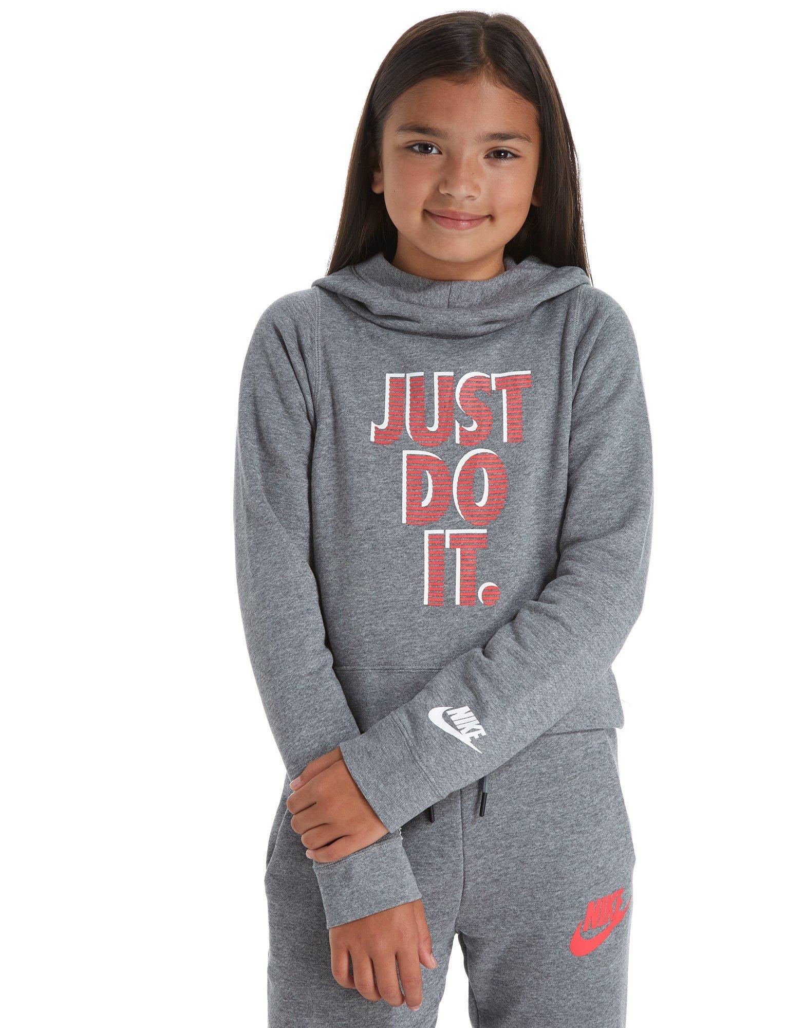Nike Gray Girls\u0027 Just Do It Cropped Hoodie Junior