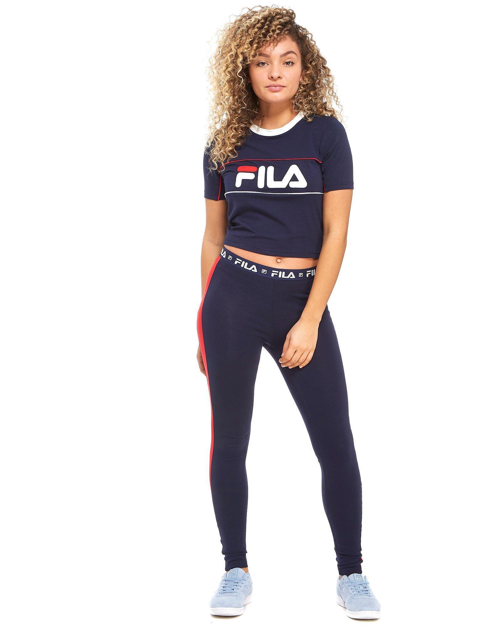 bf5731549fe Fila Logo Crop T-shirt in Blue - Lyst