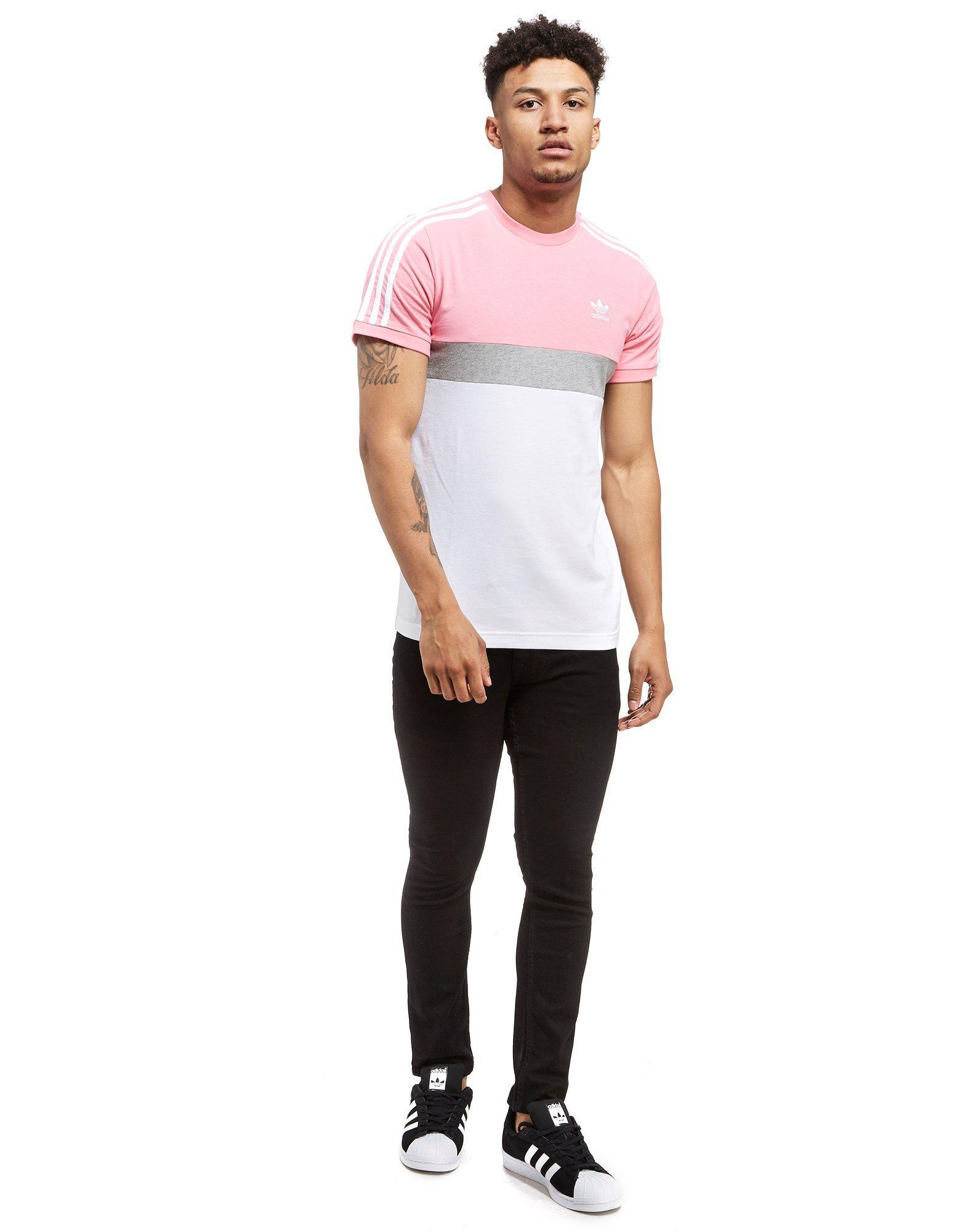 adidas Originals Synthetic California 2 T-shirt in Pink/Grey/White ...