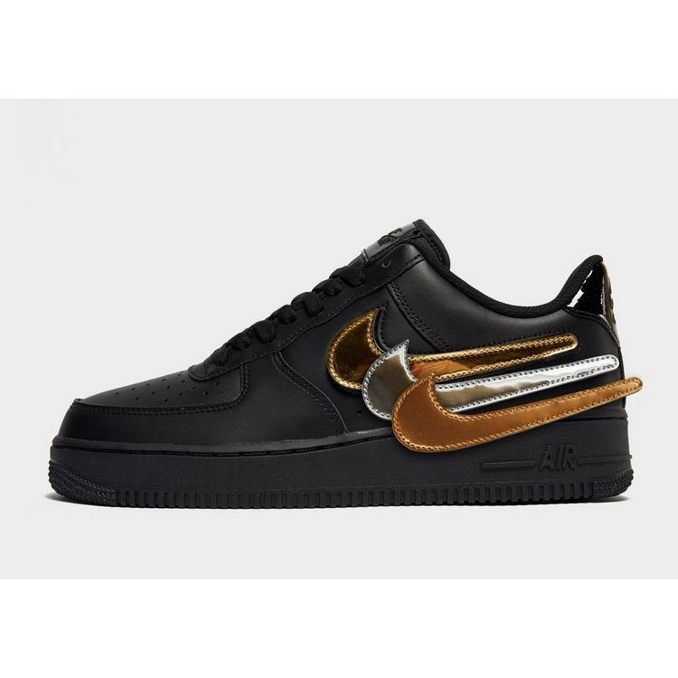 Nike Leather Air Force 1 '07 Lv8 in Black/Gold/Silver/Bronze ...
