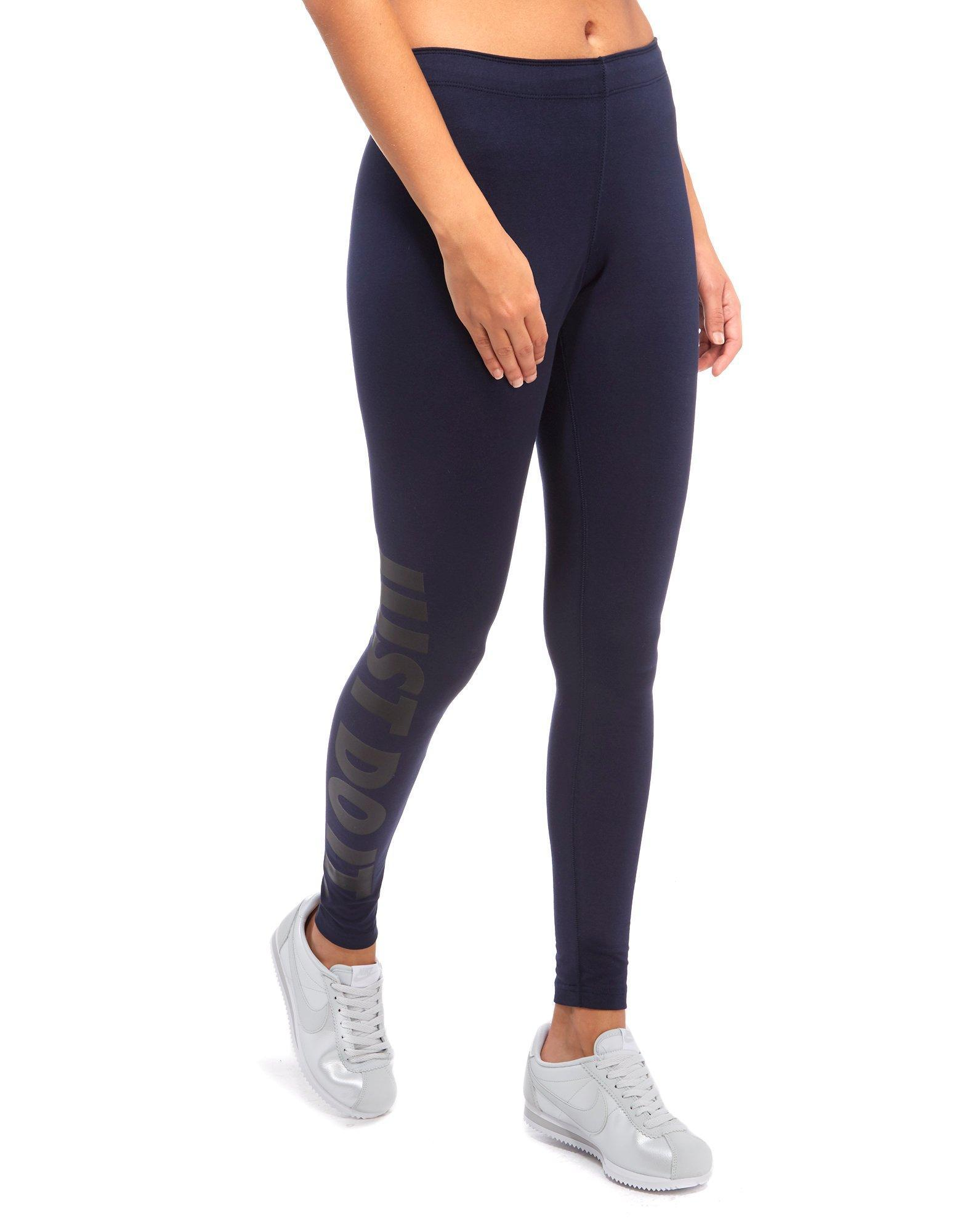 nike leg a see just do it leggings in blue lyst. Black Bedroom Furniture Sets. Home Design Ideas