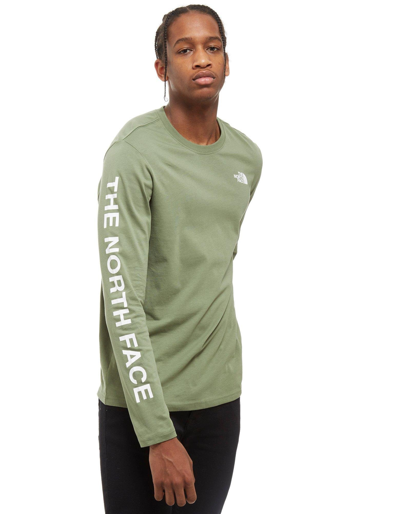 Lyst the north face long sleeve printed t shirt in green for Long sleeve printed t shirts