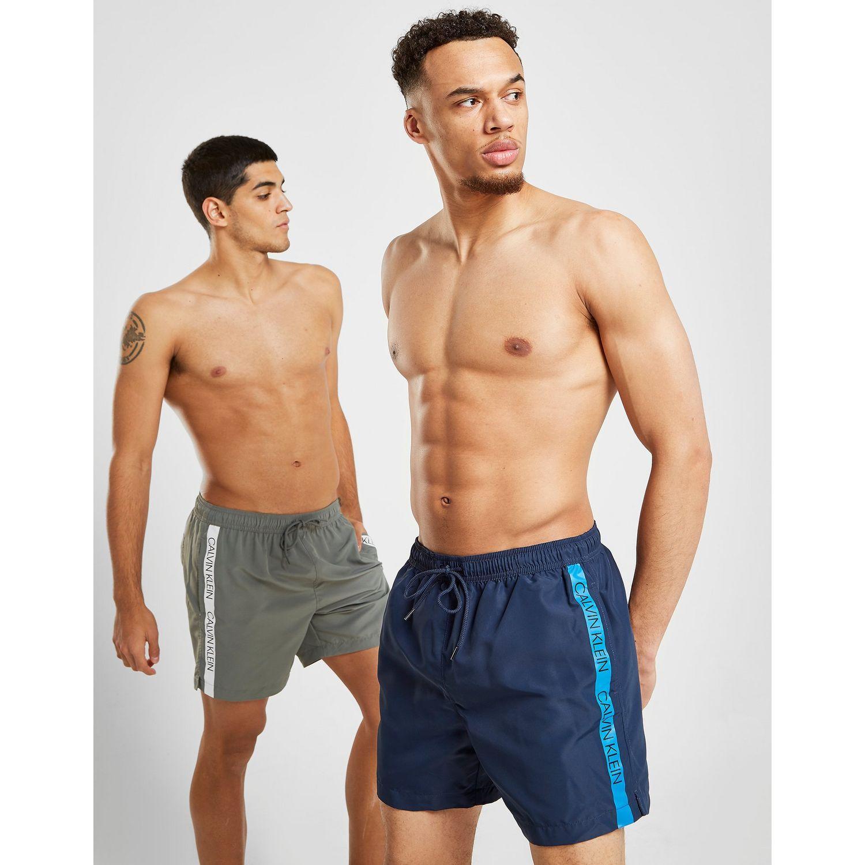 b3d11ec901 Calvin Klein Tape Medium Swim Shorts In Blue For Men Lyst