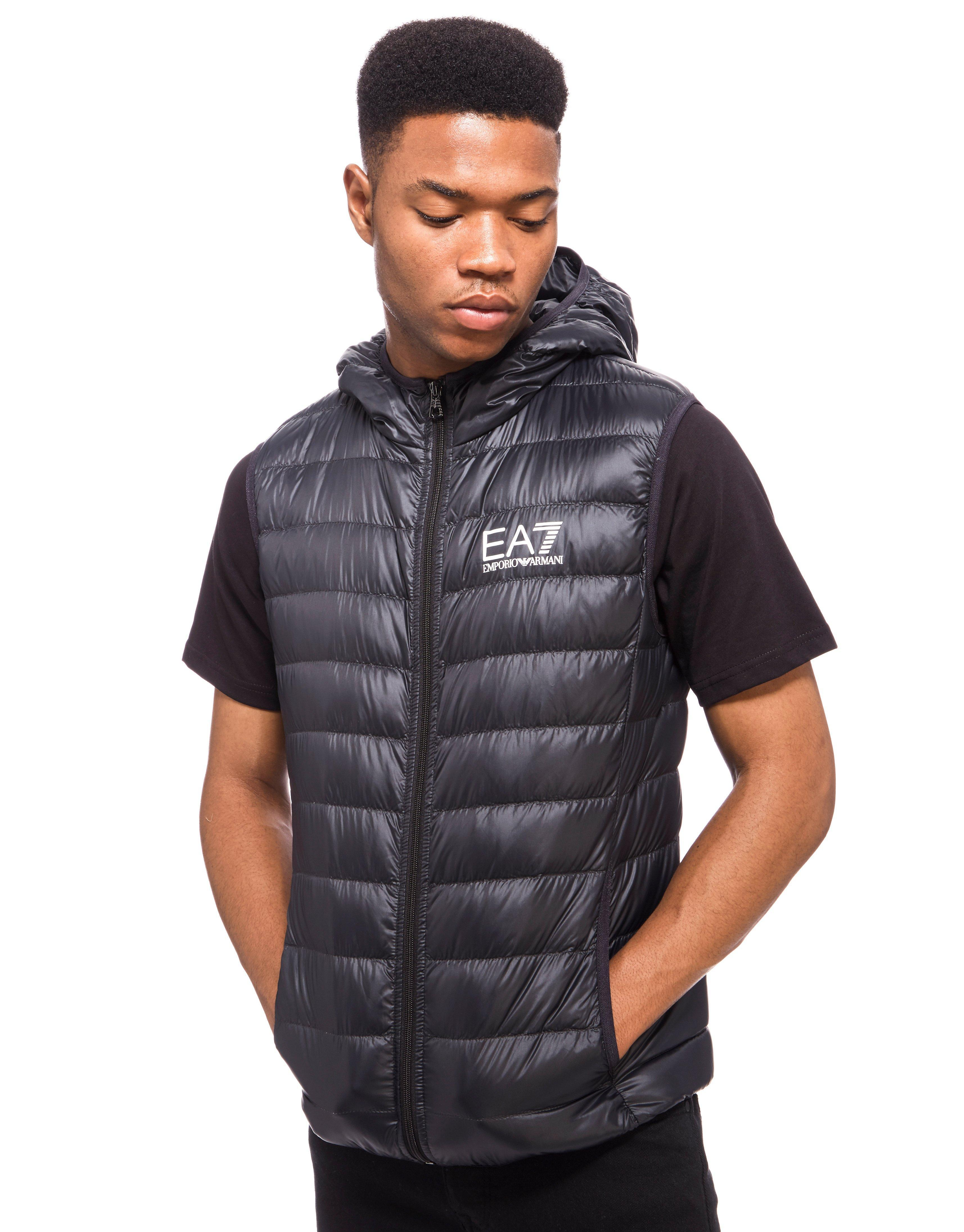 Ea7 Synthetic Core Hooded Padded Gilet In Black For Men Lyst