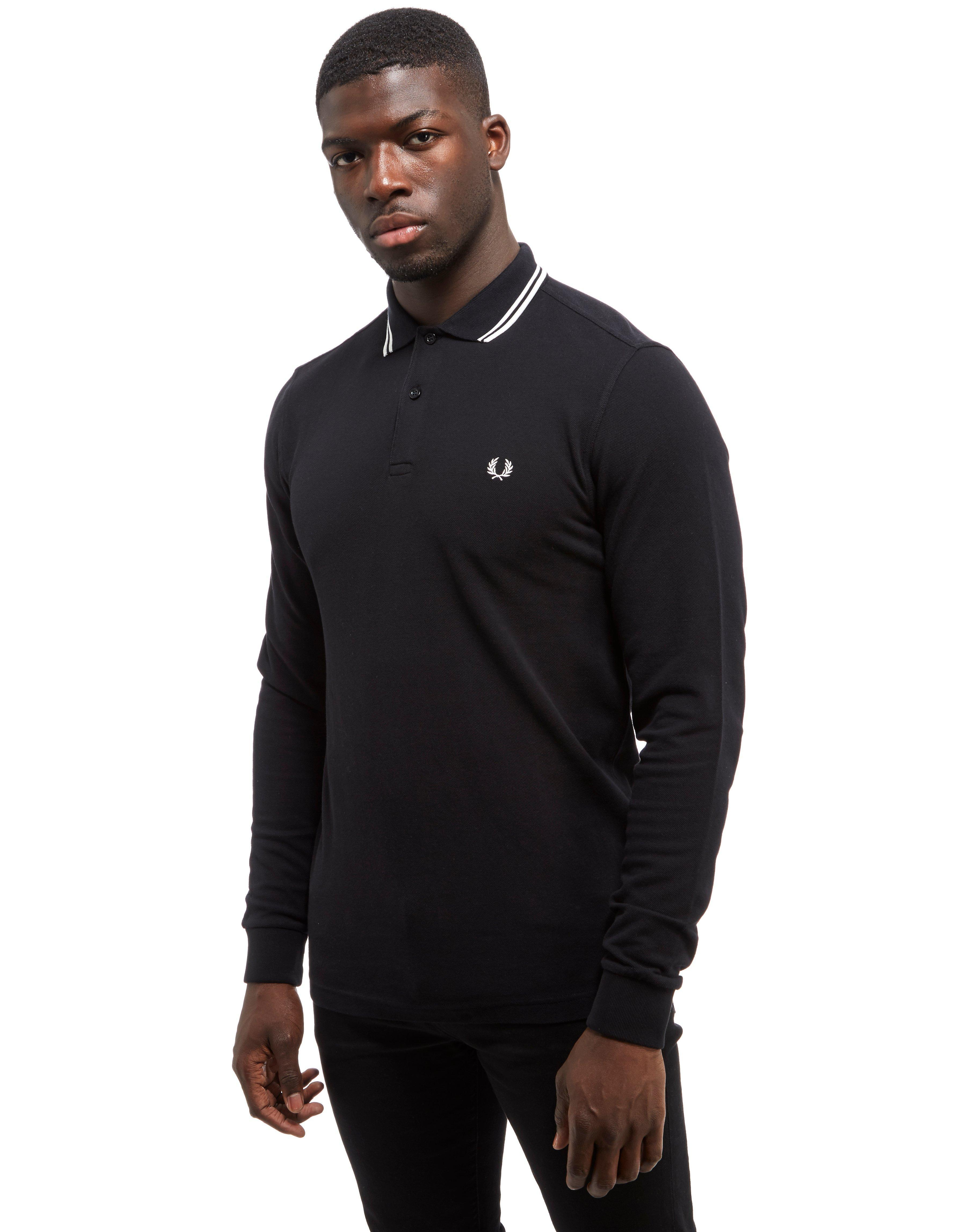 lyst fred perry twin tip long sleeve polo shirt in black for men. Black Bedroom Furniture Sets. Home Design Ideas