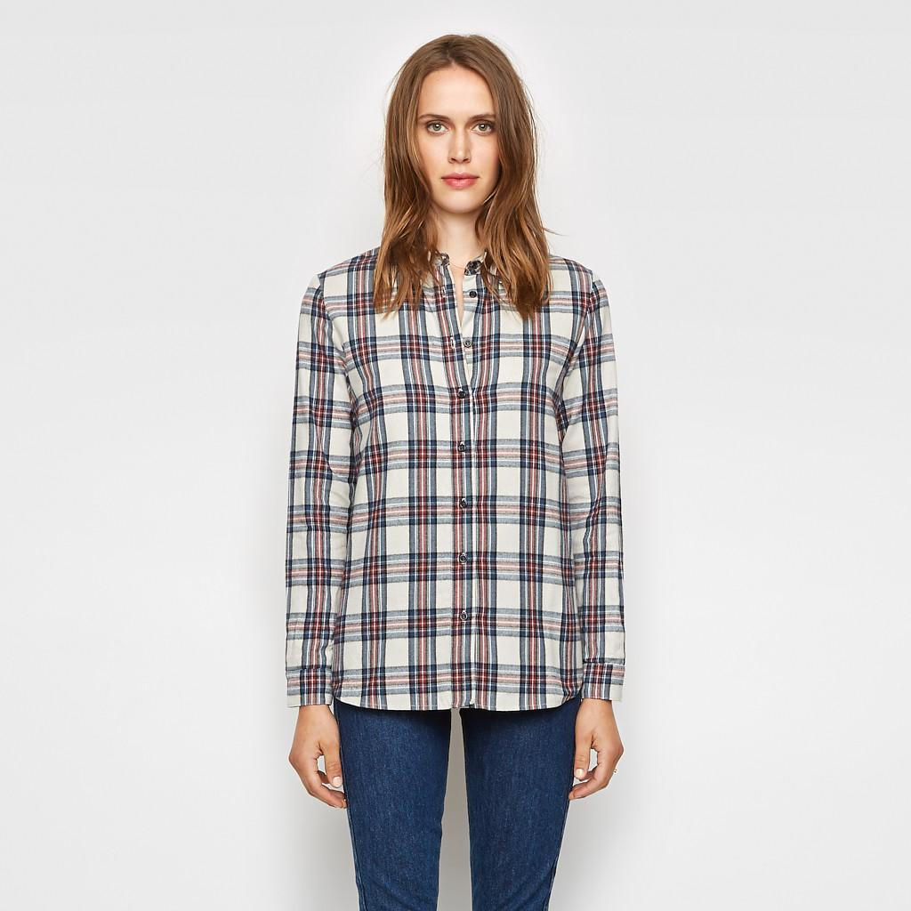 Jenni kayne plaid flannel boyfriend shirt ivory red navy for Navy blue and red flannel shirt
