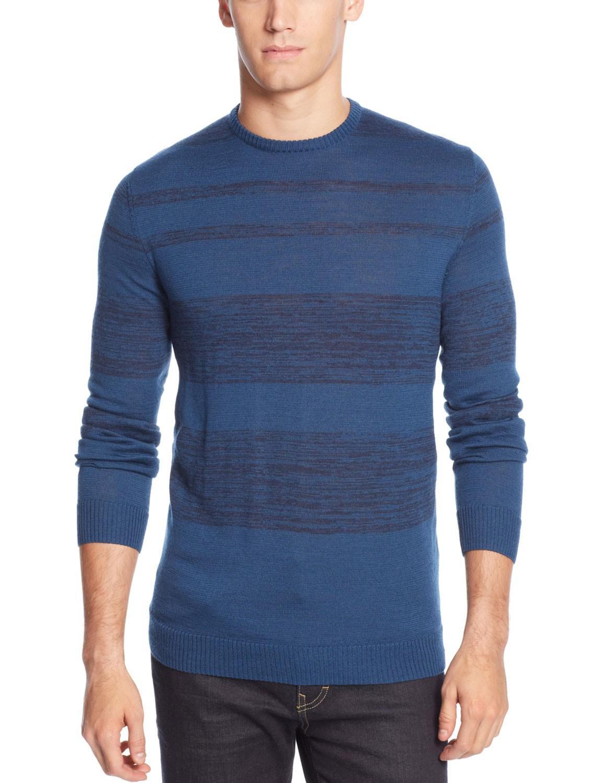 Calvin klein Merino Wool-blend Striped Crew-neck Sweater X-large ...