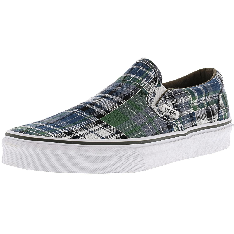 5149e76460f63d Lyst - Vans Classic Slip-on Plaid Patchwork Blue Ankle-high Canvas ...