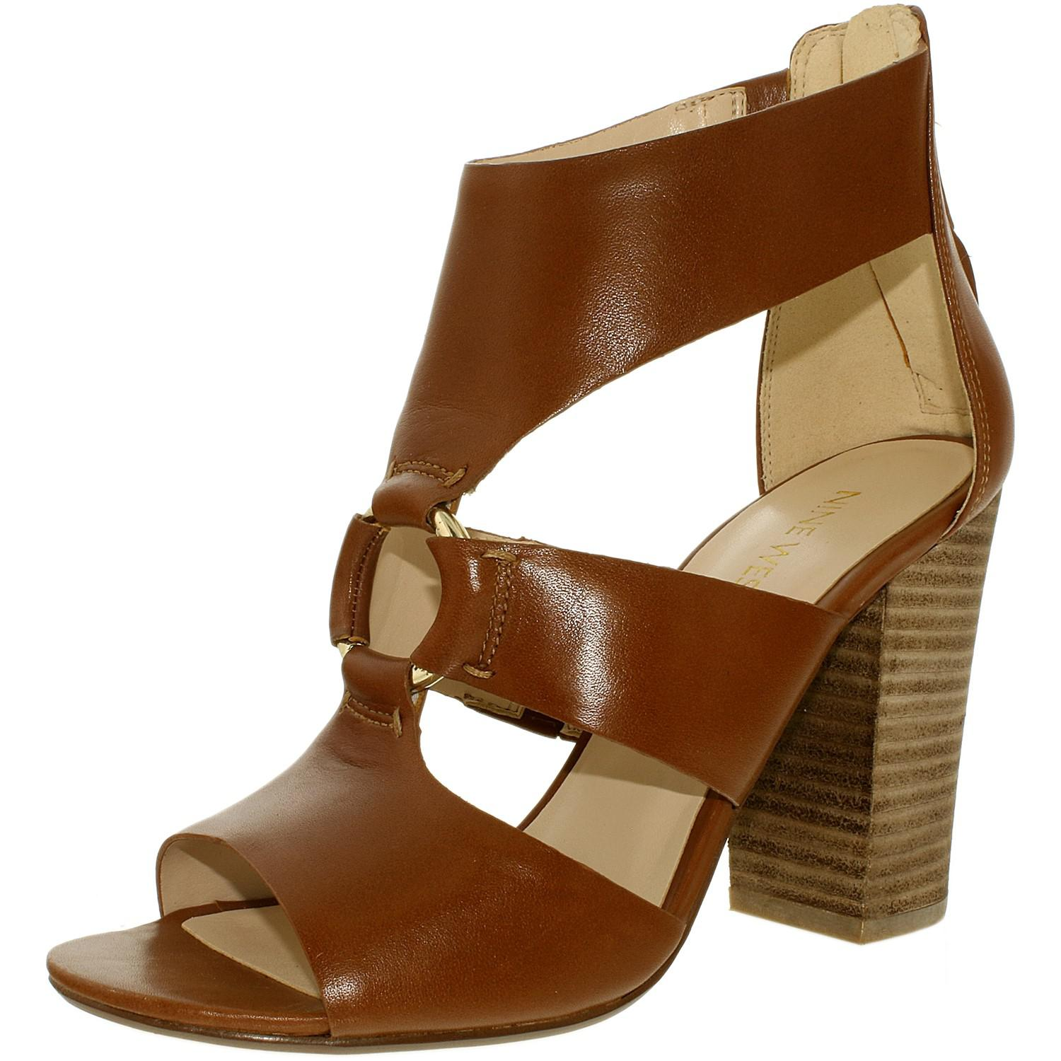 Nine West. Women's Brown Roamah Leather Cognac Ankle-high Leather Sandal