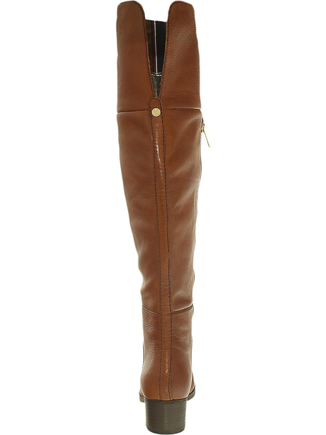 1b09dfe248694f Lyst - Tommy Hilfiger Gianna Leather Above The Knee Boot - 6.5m in Brown