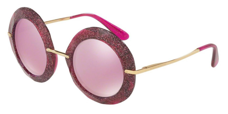 a024562fe8e Lyst - Dolce   Gabbana Sunglasses Dg 6105 31057v Fuxia glitter Gold ...