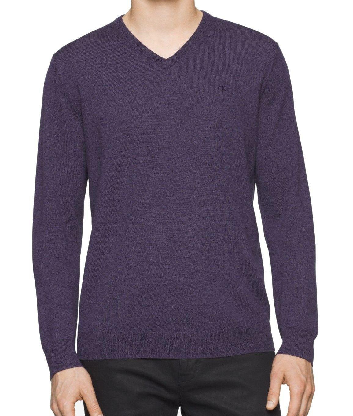 Calvin klein Amethyst Purple Mens Size Xl V-neck Wool Sweater for ...