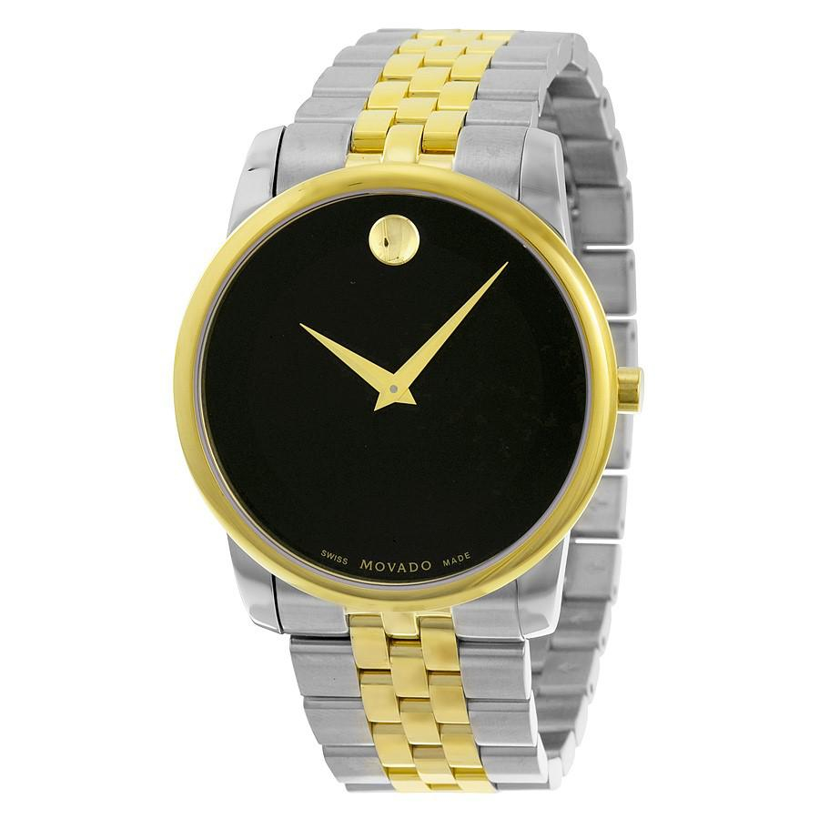 fdcfe6f0b Lyst - Movado Museum Black Dial Two-tone Watch 0606899 in Metallic ...