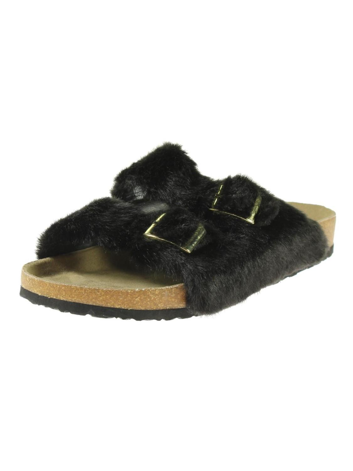 b1b8fe24235 Steve Madden. Women s Black Soul Faux Fur Double Strap Slide Sandals
