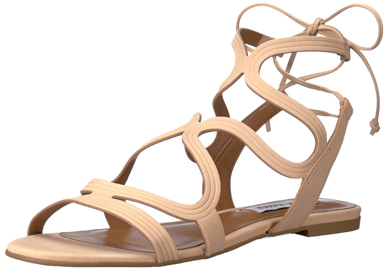 Steve Madden. Women's Natural Cece Leather Open Toe Casual Gladiator Nude