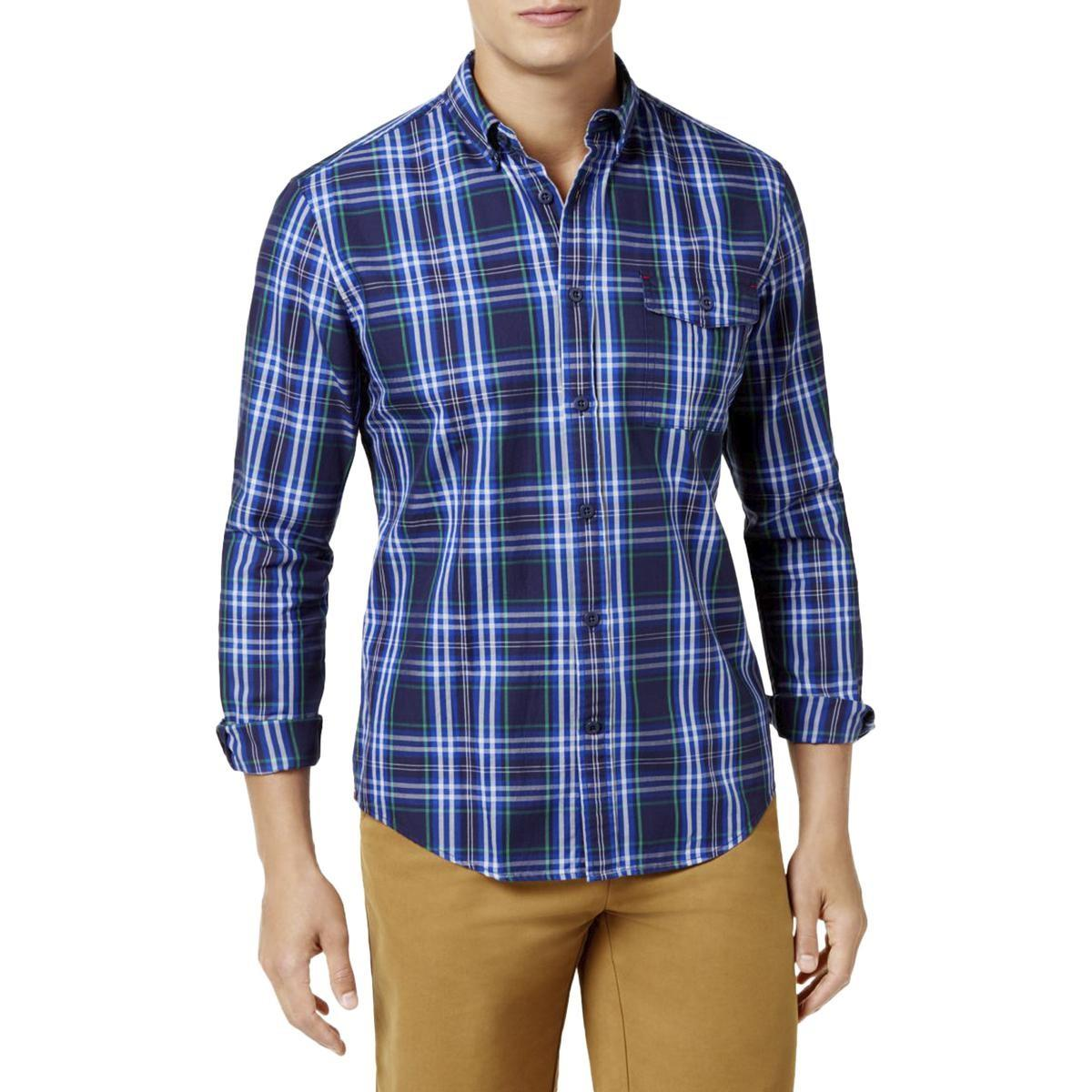 c100999e Lyst - Tommy Hilfiger Plaid Custom Fit Button-down Shirt in Blue for Men