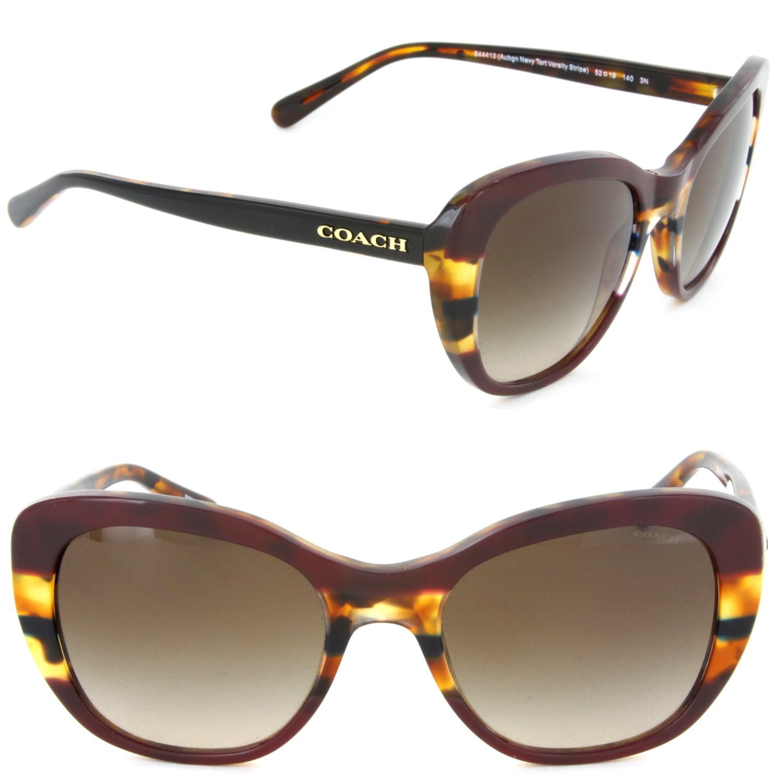 02cf13b247 COACH Hc8204 544413 Cat Eye Sunglasses Aubgn Navy Tort Varsity ...
