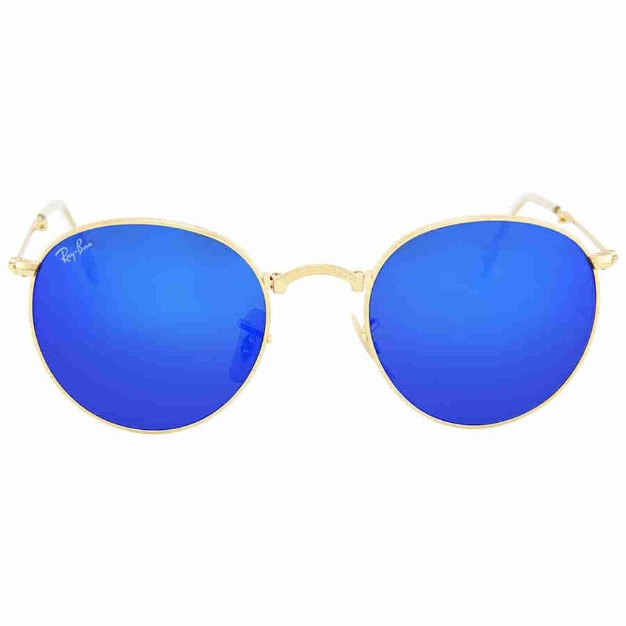 5a01129adc4 Lyst - Ray-Ban Ray Ban Round Metal Folding Blue Mirror Sunglasses ...