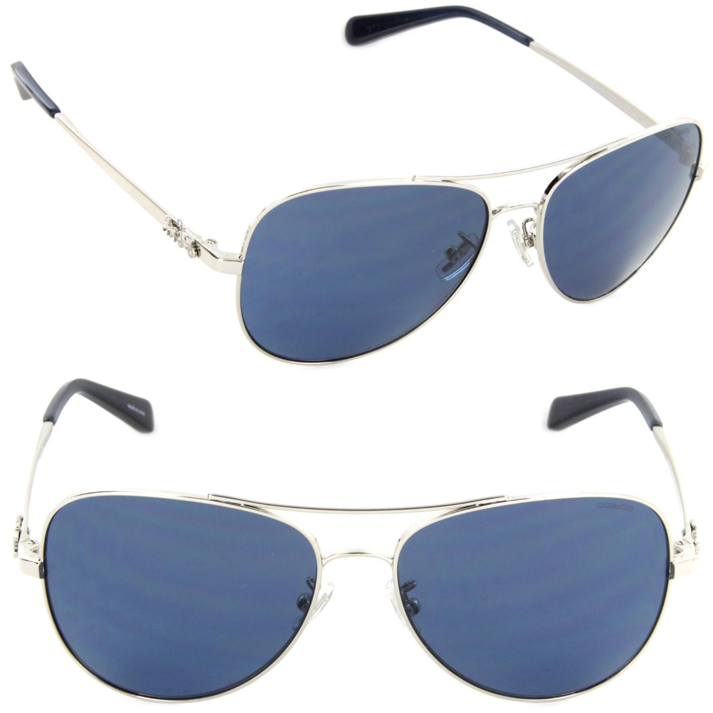 9d8d37a4149c ... usa lyst coach hc7074 900180 59 pilot sunglasses silver dark blue 8d660  b2d73