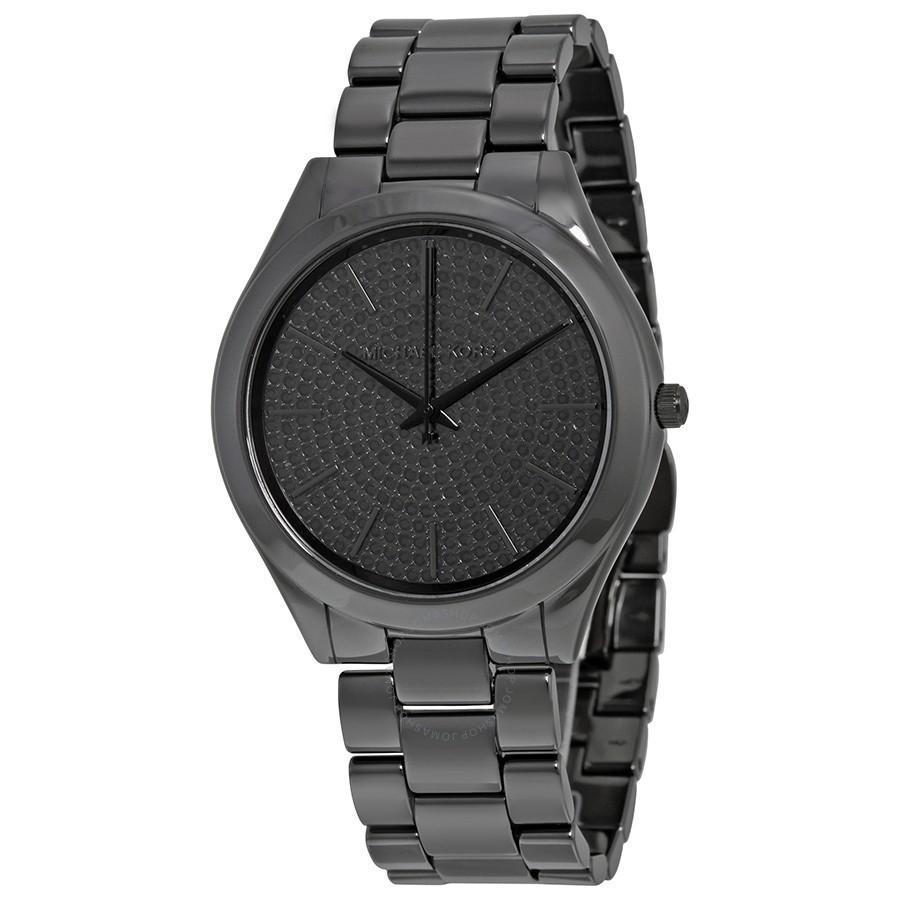 6ae5e015413c Lyst - Michael Kors Slim Runway Black Watch Mk3449 in Black