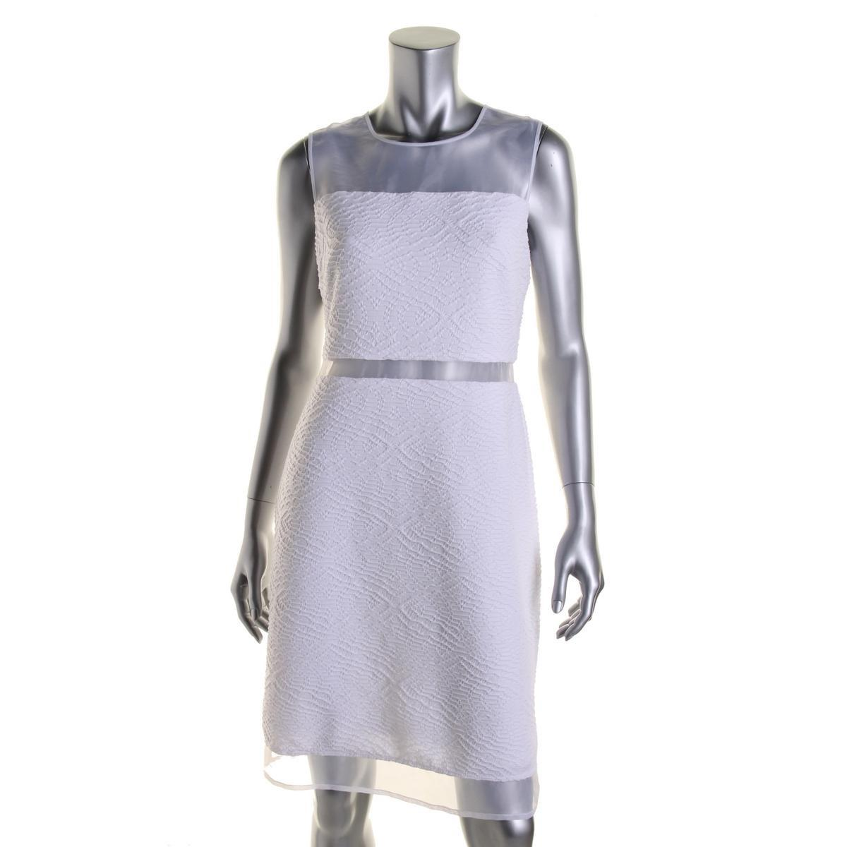71f4cbad9 Lyst - Calvin Klein Juniors Mesh Inset Sleeveless Party Dress in White