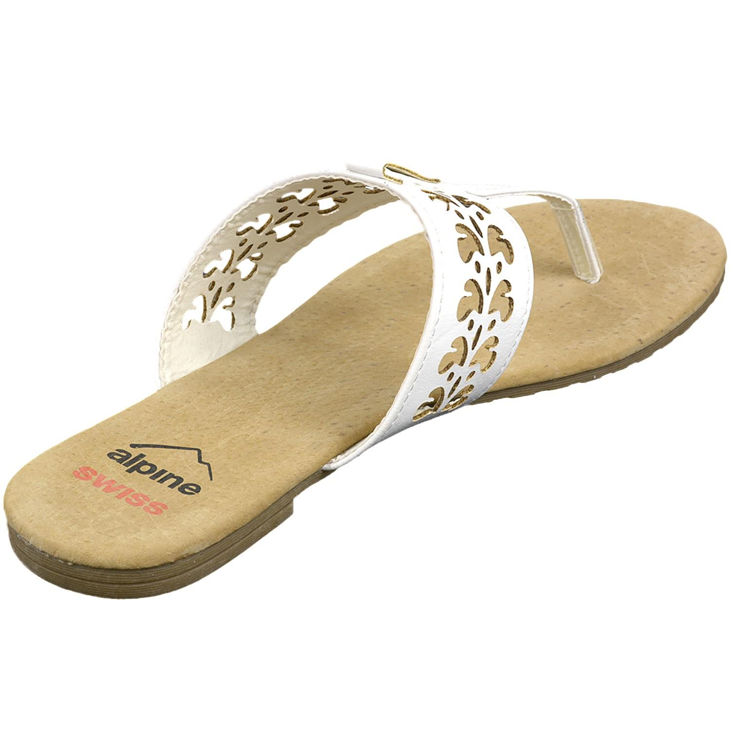 ce597f8ed48 Lyst - Alpine Swiss Womens Suede Sandals Floral Cut Out Faux Leather ...