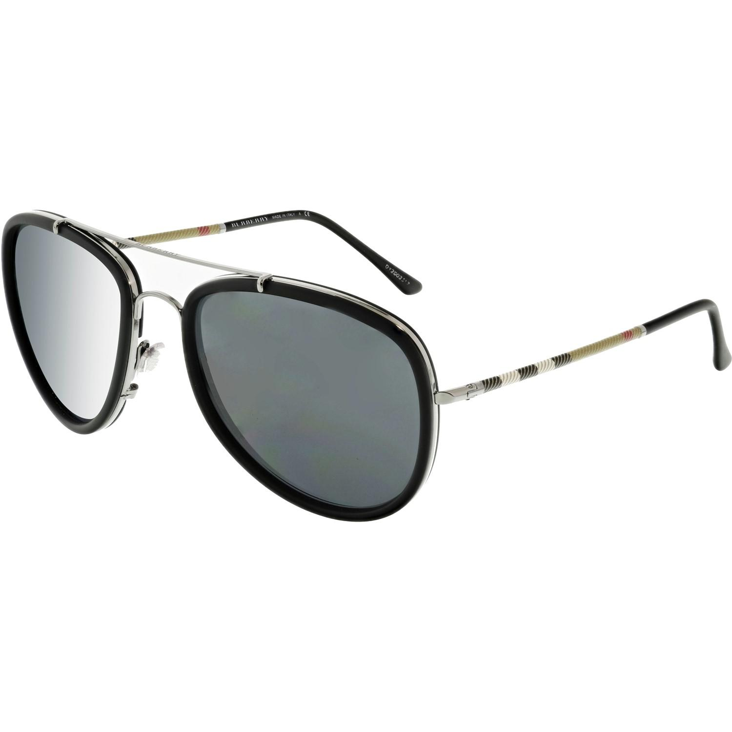 d6916ef9b071 Lyst - Burberry Be3090q-100387-58 Black Aviator Sunglasses in Black ...