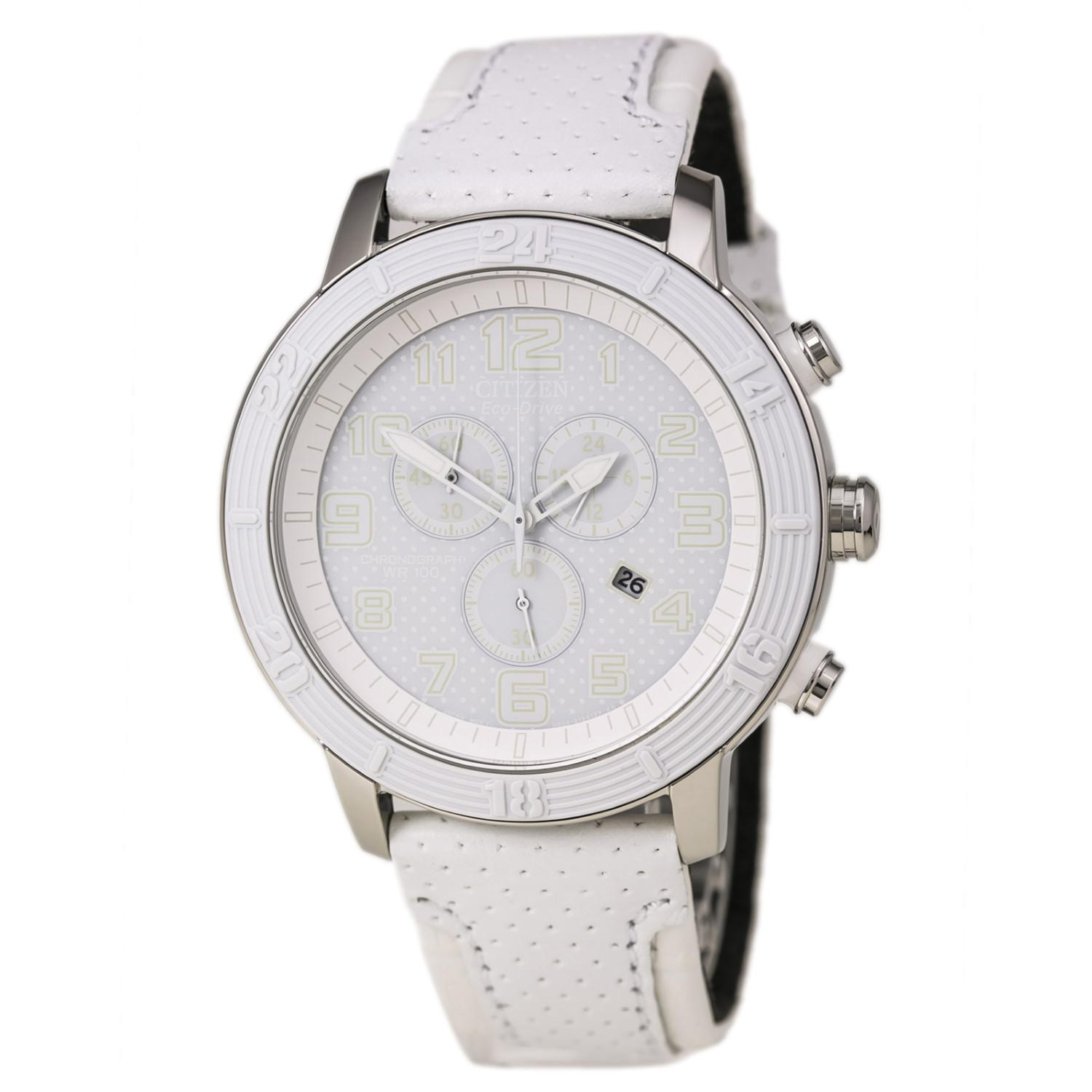 1e20bd09d2a Lyst - Citizen S Eco Drive Leather Water Resistant Chronograph Watch ...
