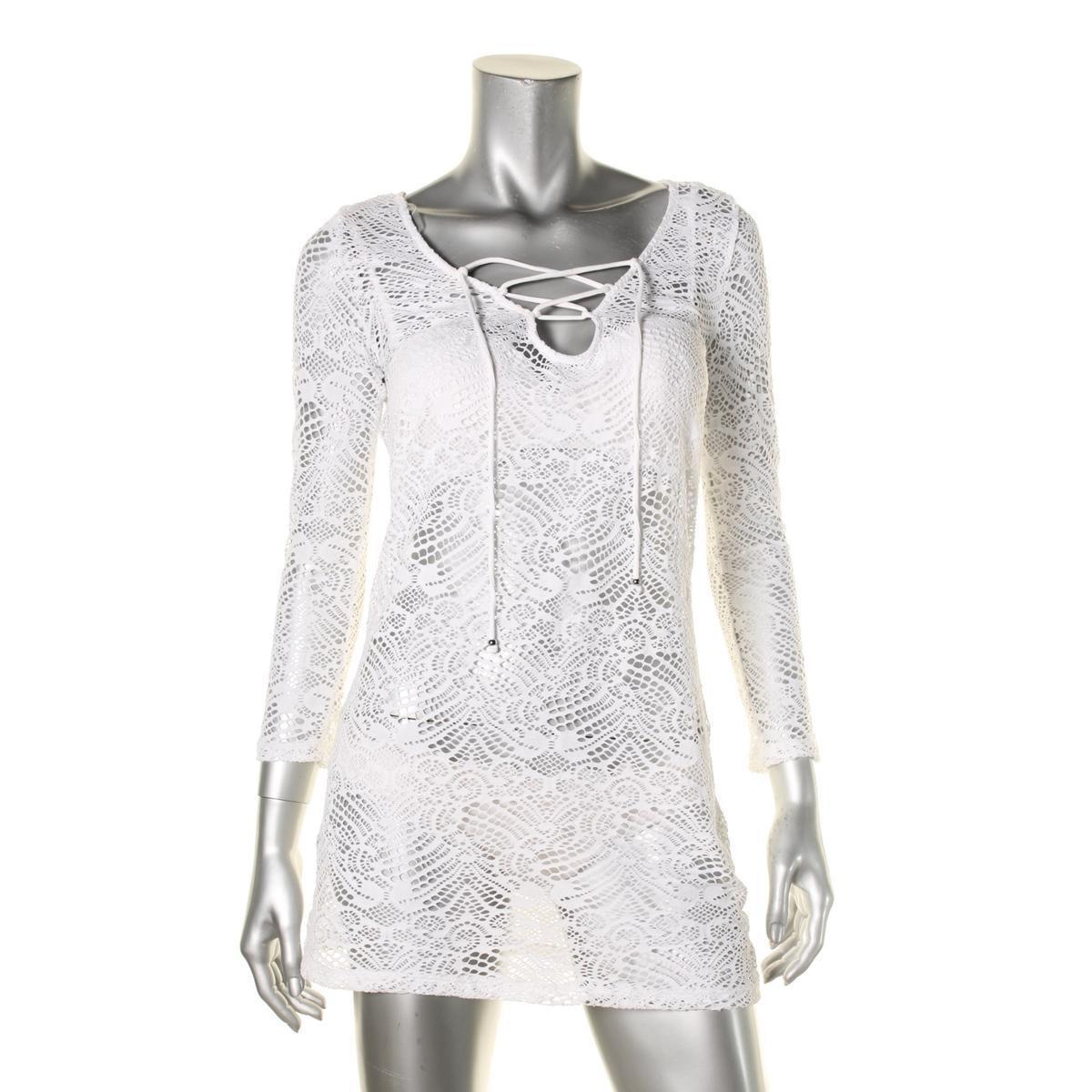 72daef306c Lyst - Polo Ralph Lauren Womens Crochet 3/4 Sleeves Dress Swim Cover ...