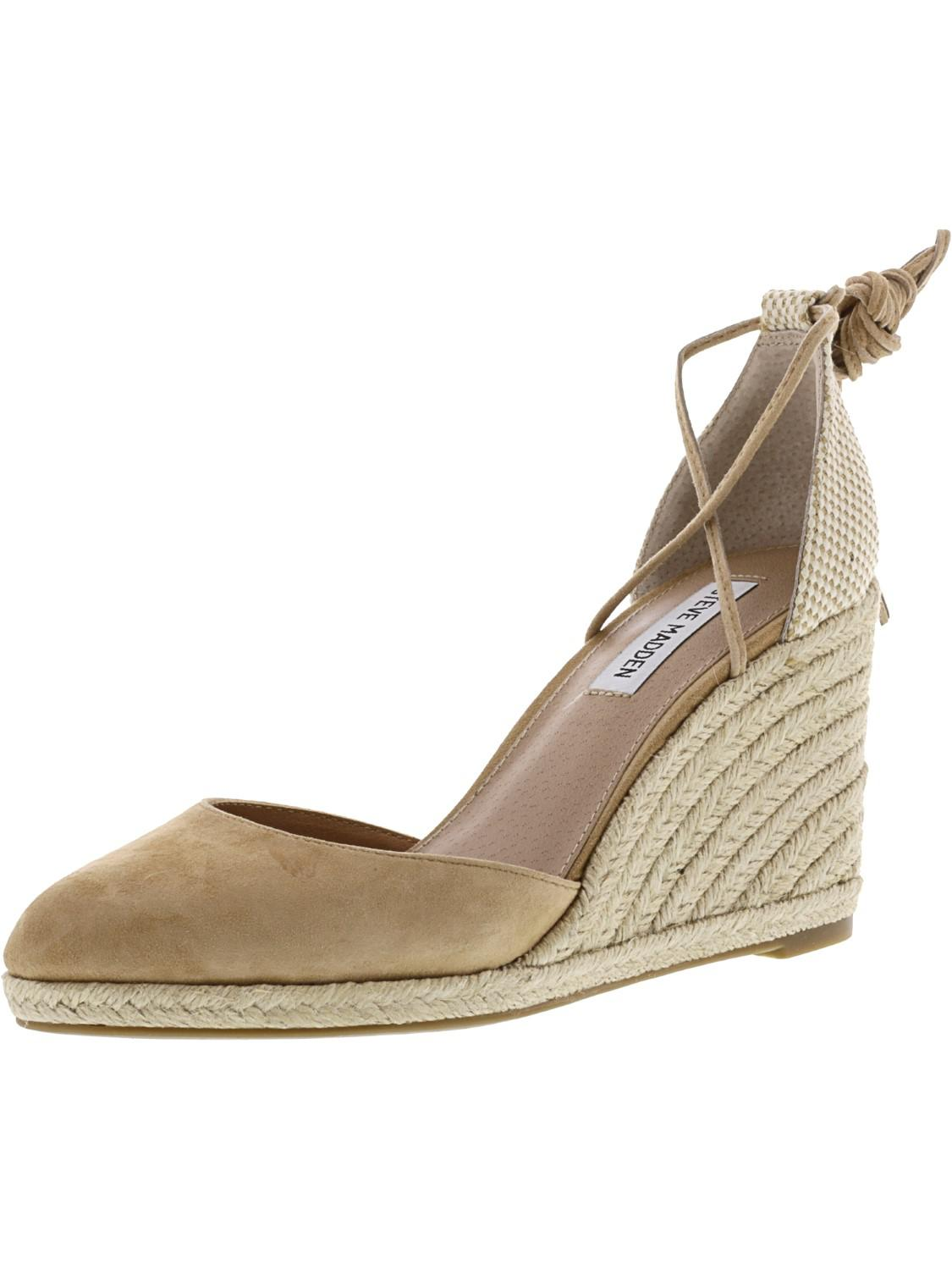 2287f699188 Lyst - Steve Madden Bestow Suede Wedged Sandal - 8.5m in Natural