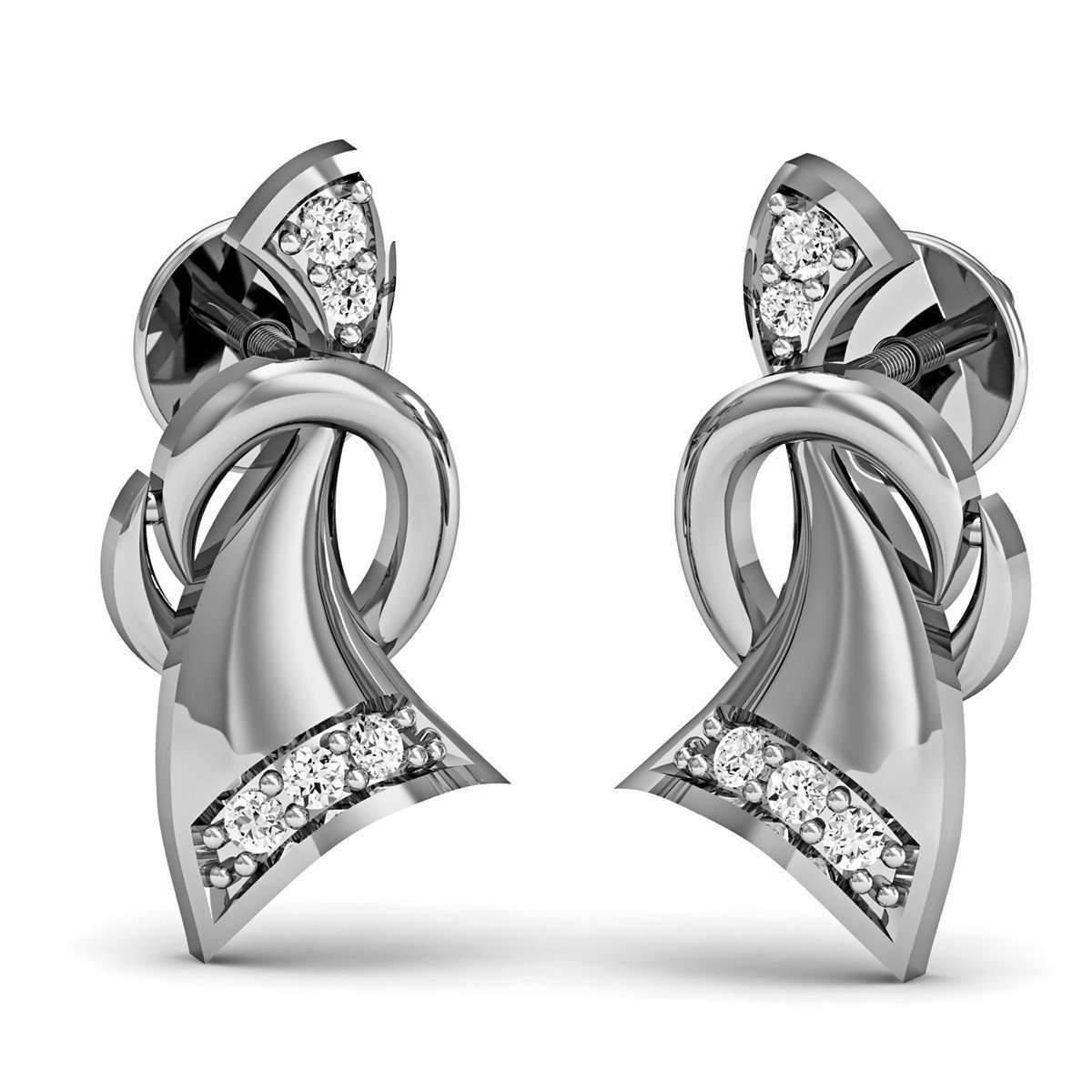 Diamoire Jewels Hand-carved Earrings in 10kt White Gold with Round Cut Diamonds eQAo5Gq3