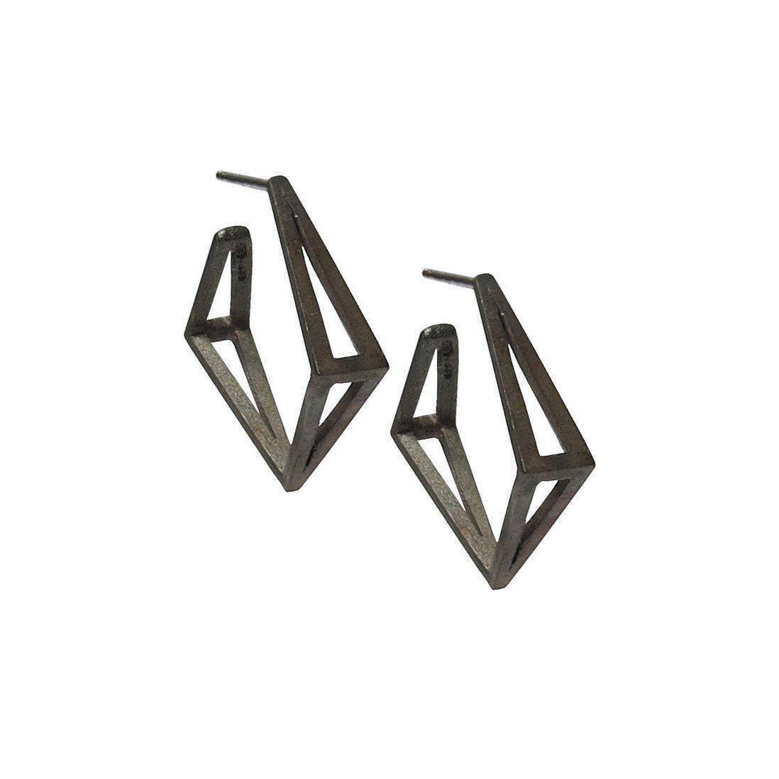 Stephanie Bates Black Med Kite Hoop Earrings ADW62MkJ2