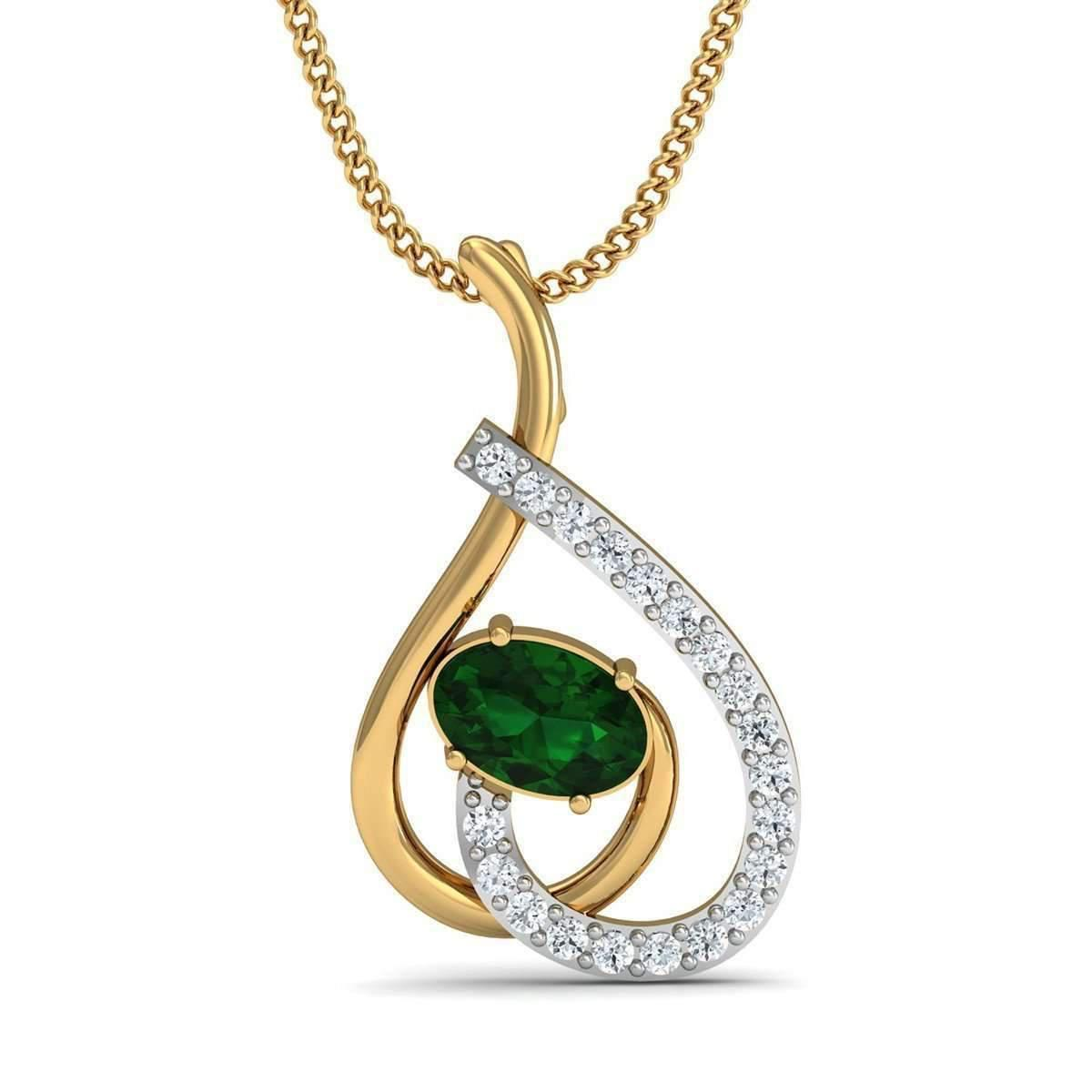 Diamoire Jewels Oval Shape Sapphire and Diamond Pendant in 14kt Yellow Gold Ps9xsPs