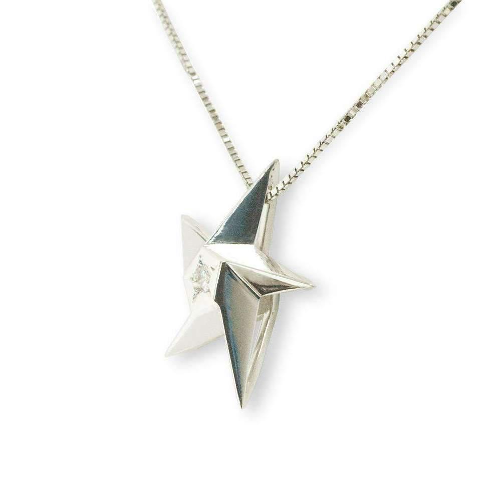 Daou Jewellery 18kt White Gold & Blue Sapphire Midnight Star Pendant - 16 1USpyP