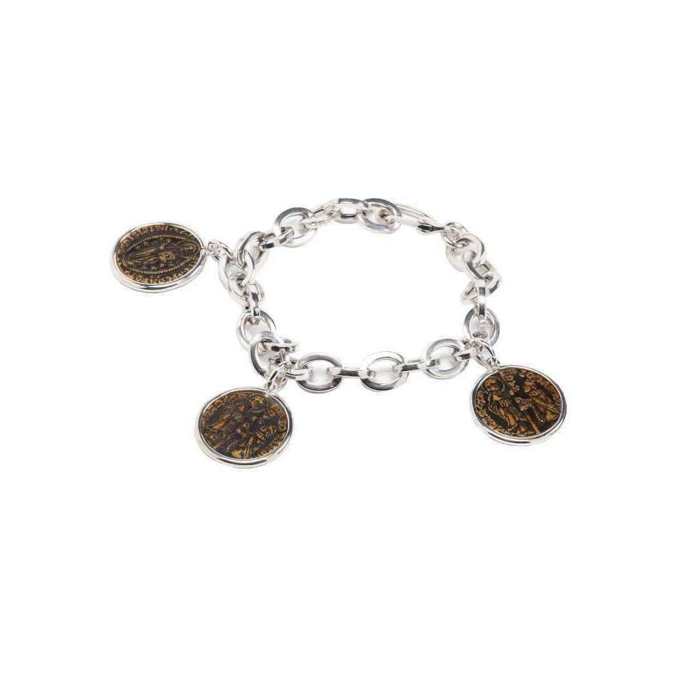 Rina Limor Sunrise Small Silver Coin Charm Bracelet Qk2VoTwY35