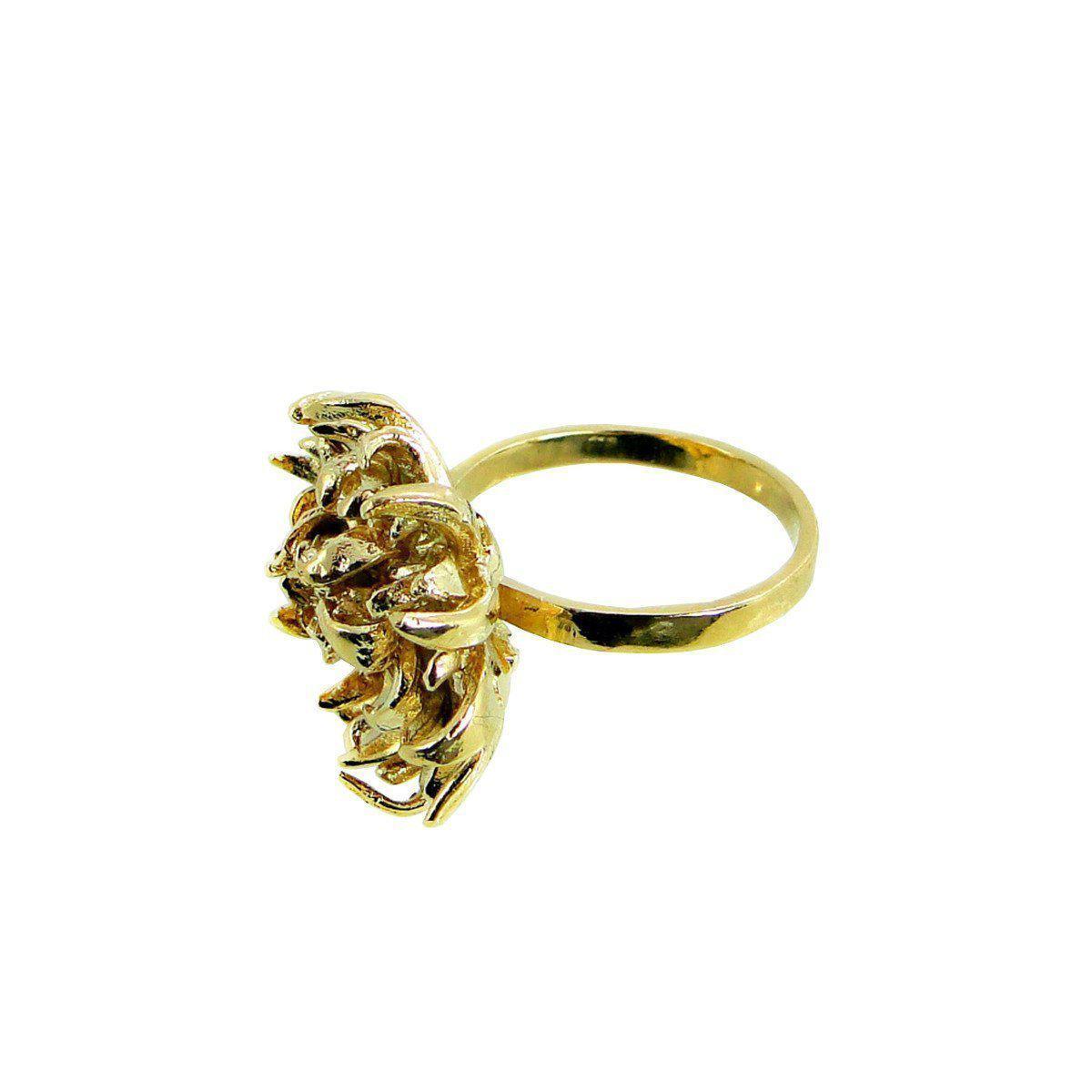 Beryl Dingemans Jewellery Gold Open Protea Ring in Metallic