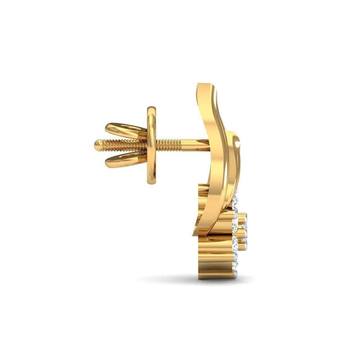 Diamoire Jewels Charming Diamond Stud Earrings in 18kt Yellow Gold bSdS3mkat