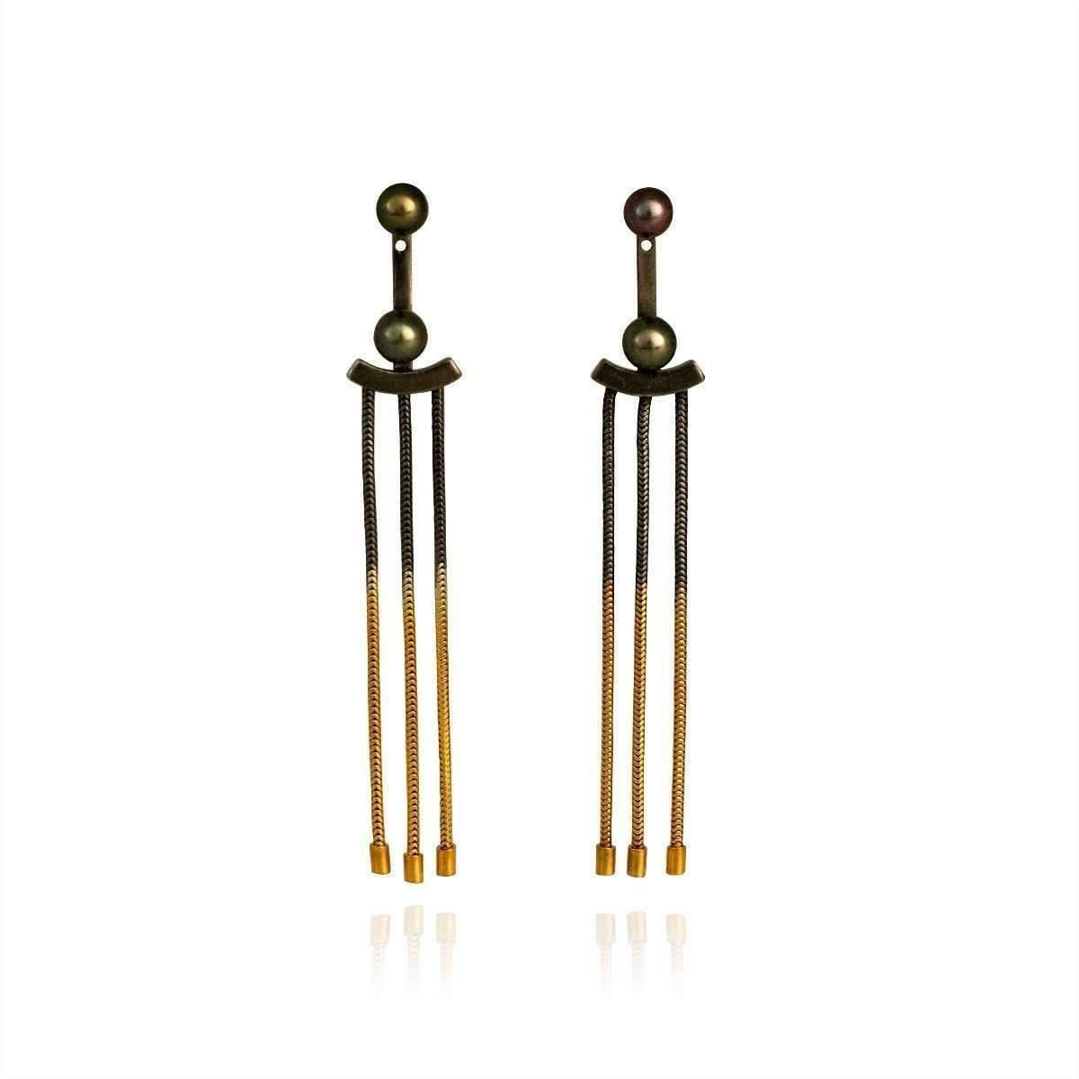 Cara Tonkin Oxidised Silver Orbit Tassel Front and Back Earrings W03Pmt