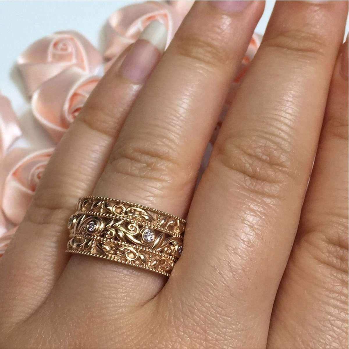 Custom Made By Irina Pink Wide Wedding Band With Leaves And Vines