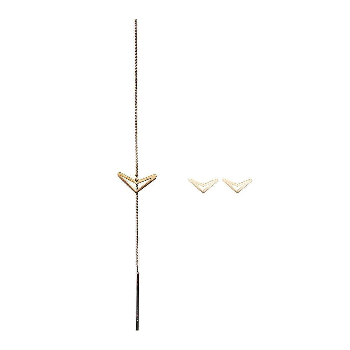 Dutch Basics Gold Plated Set Diamond Shaped Studs & Drop Chain Earring znmkc