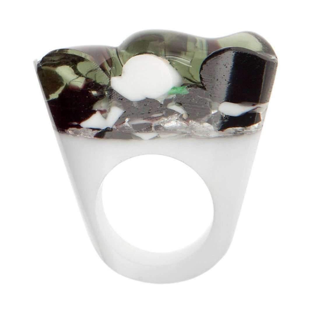 Pasionae Murano Ring - B&W - Delight - UK N - US 6 1/2 - EU 54 CtmKGZ