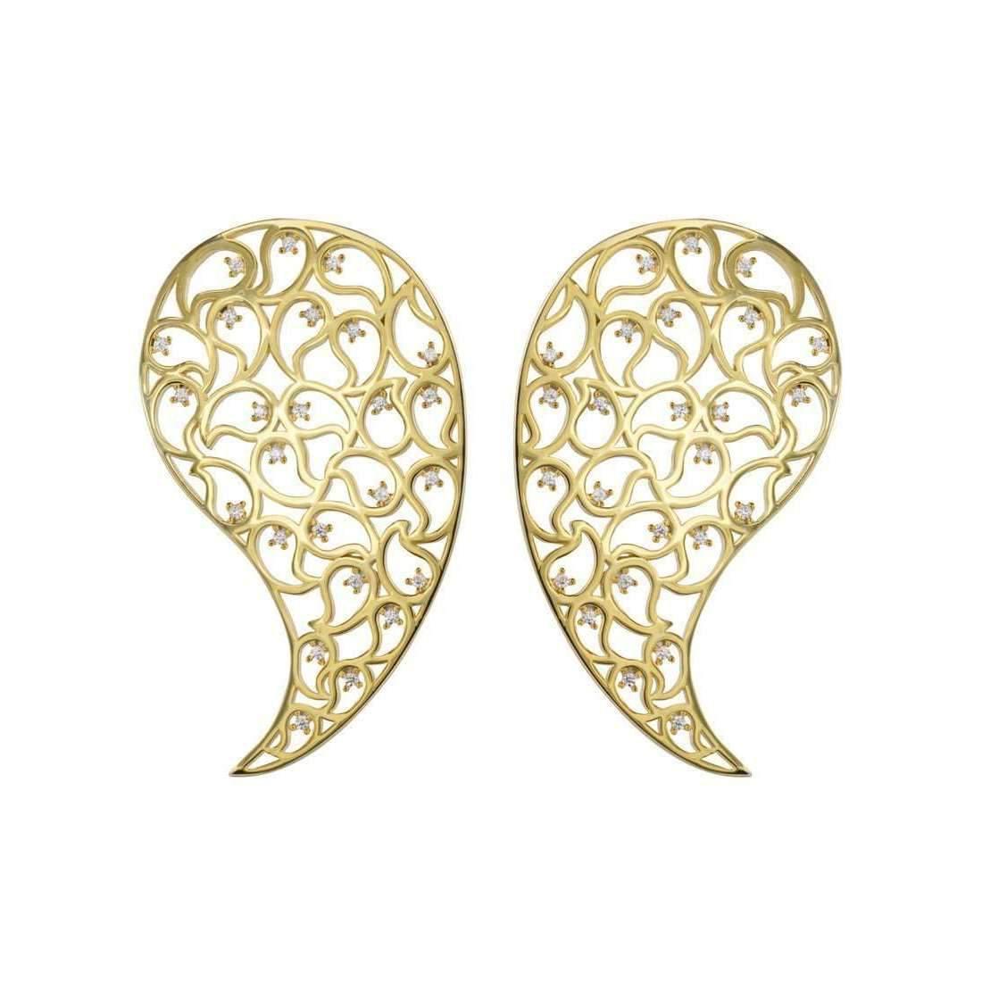 Sonal Bhaskaran Jaali Rose Gold Paisley Earrings with Clear Cubic Zirconia hb1gA