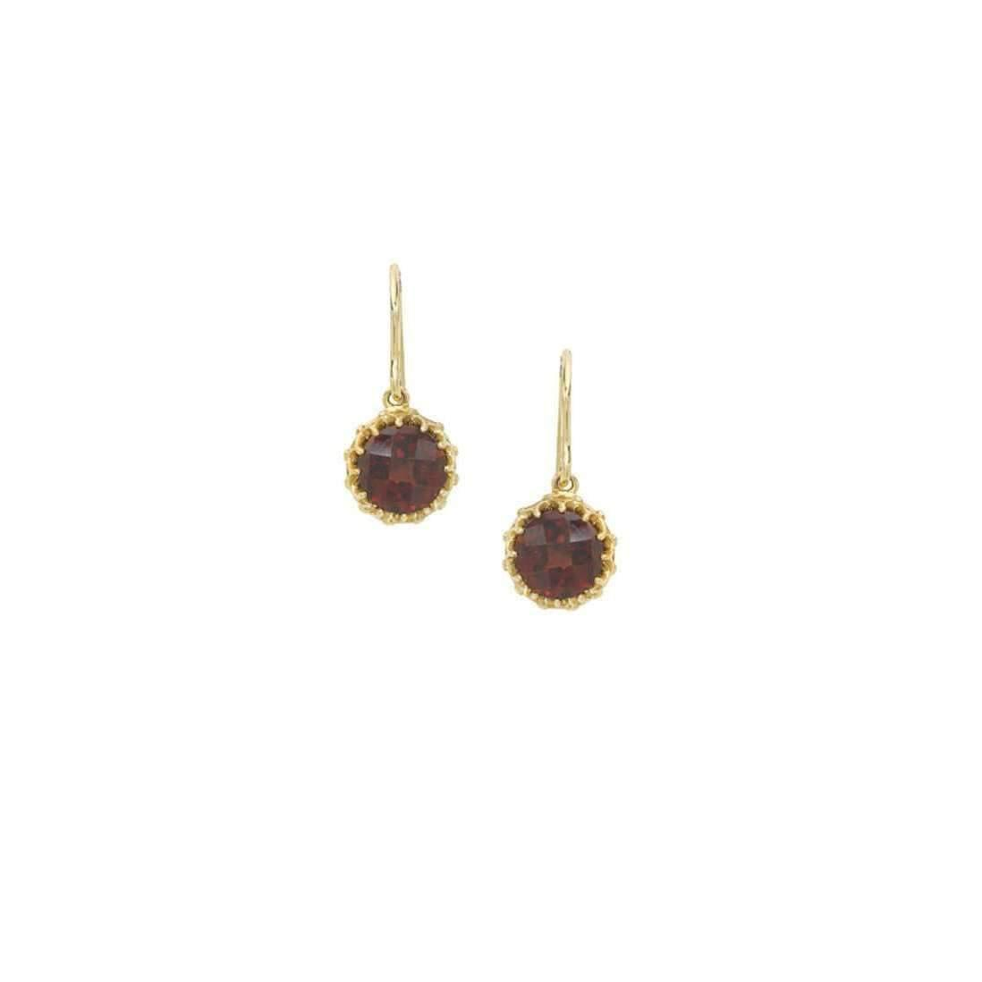 London Road Jewellery Bloomsbury Yellow Gold Garnet Coronation Drop Earrings SNGIRCnj