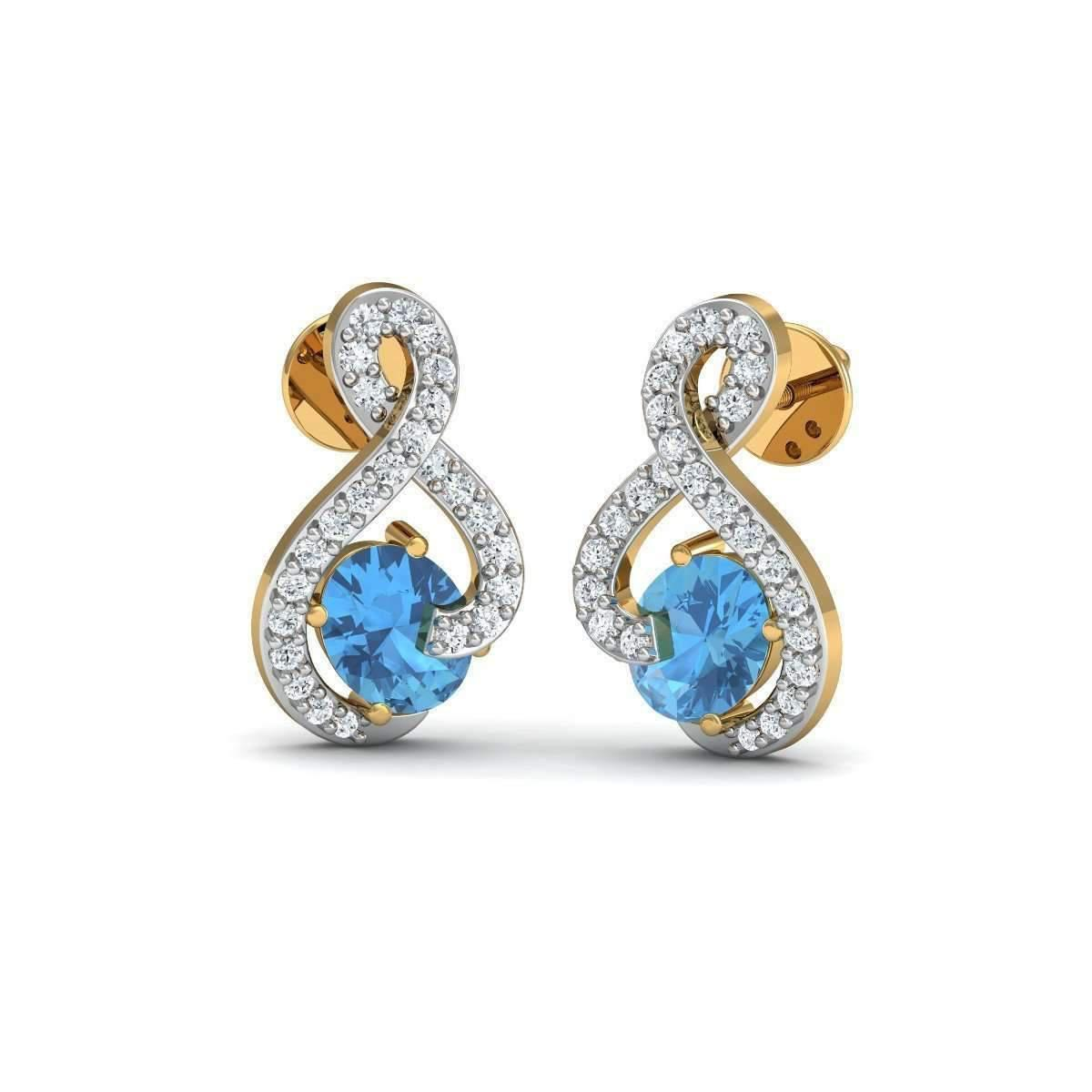 Diamoire Jewels Prong Aquamarine and Diamond Studs in 18kt Yellow Gold XIFm8wlpy