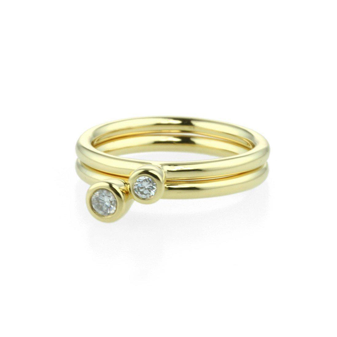 Prism Design 18kt Yellow Gold Stacking Ring With Diamond - 0.10ct in Metallic
