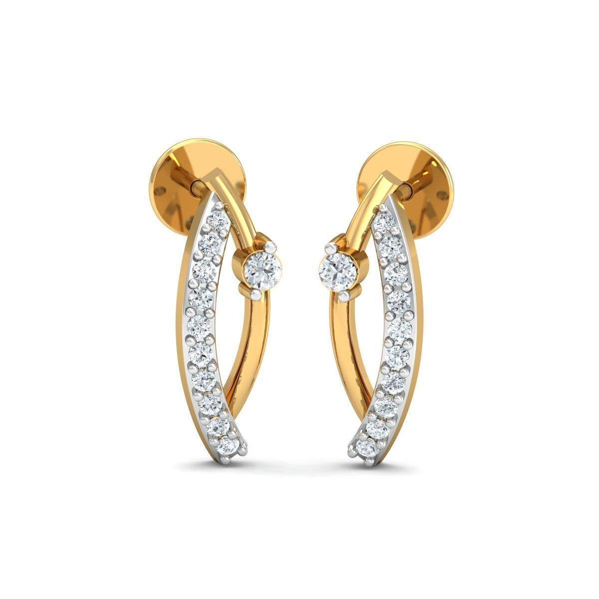 Diamoire Jewels 18kt Yellow Gold 0.13ct Pave Diamond Infinity Earrings With Ruby II sMCXTM
