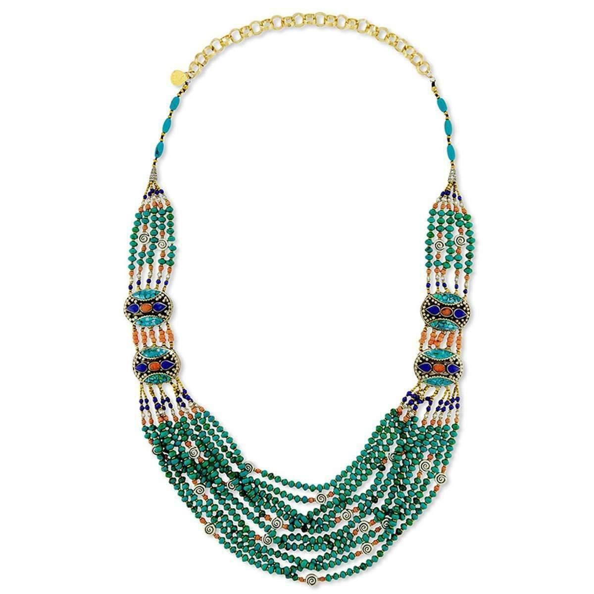 Devon Leigh Multi-Strand Green Turquoise Beaded Necklace OSv99TM2